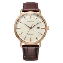 Citizen Eco Drive Rose Case Cream Dial Brown Leather Strap Date Feature Batons Watch