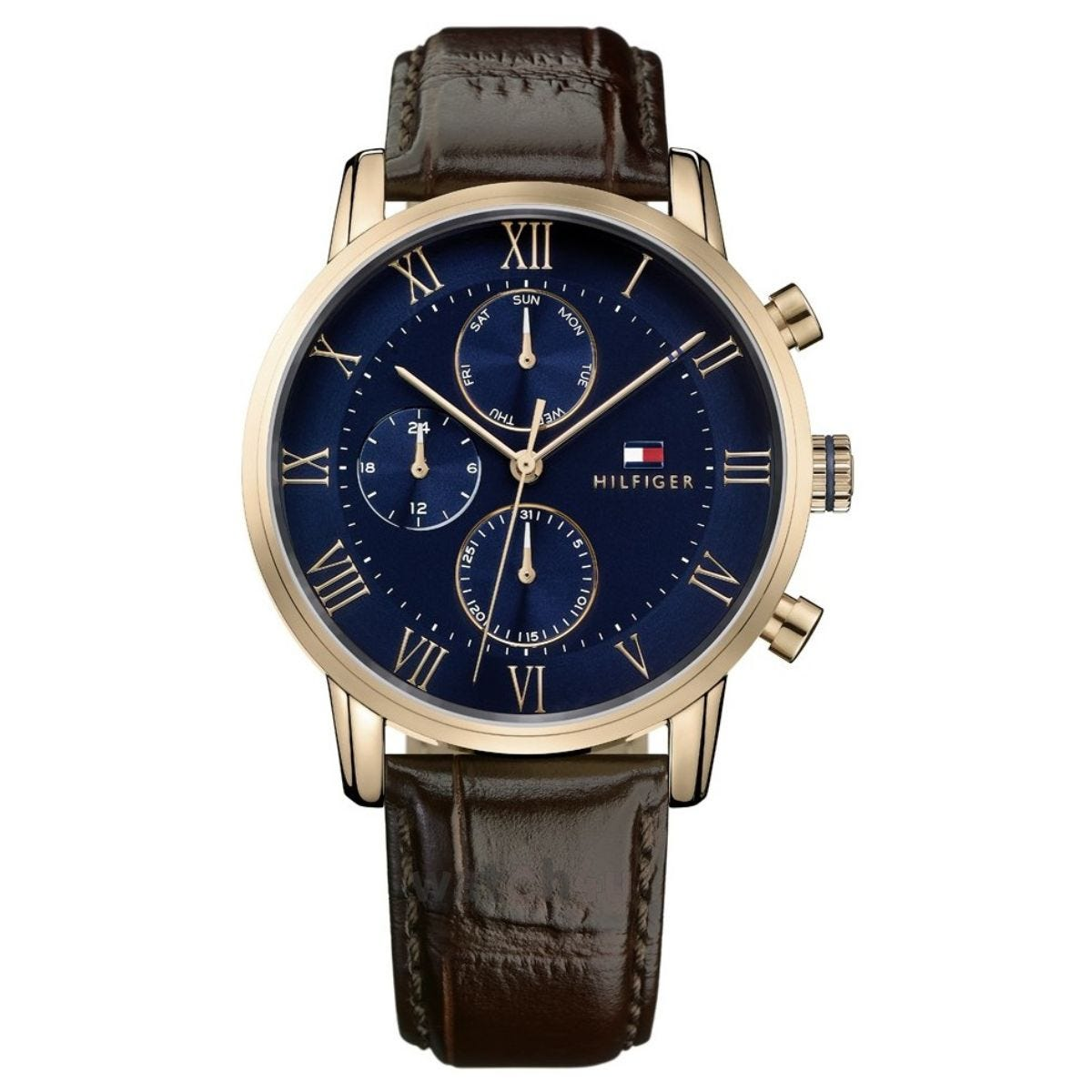 Tommy Hilfiger Blue/Rose Roman Numeral Chronograph Dial Brown Strap Watch