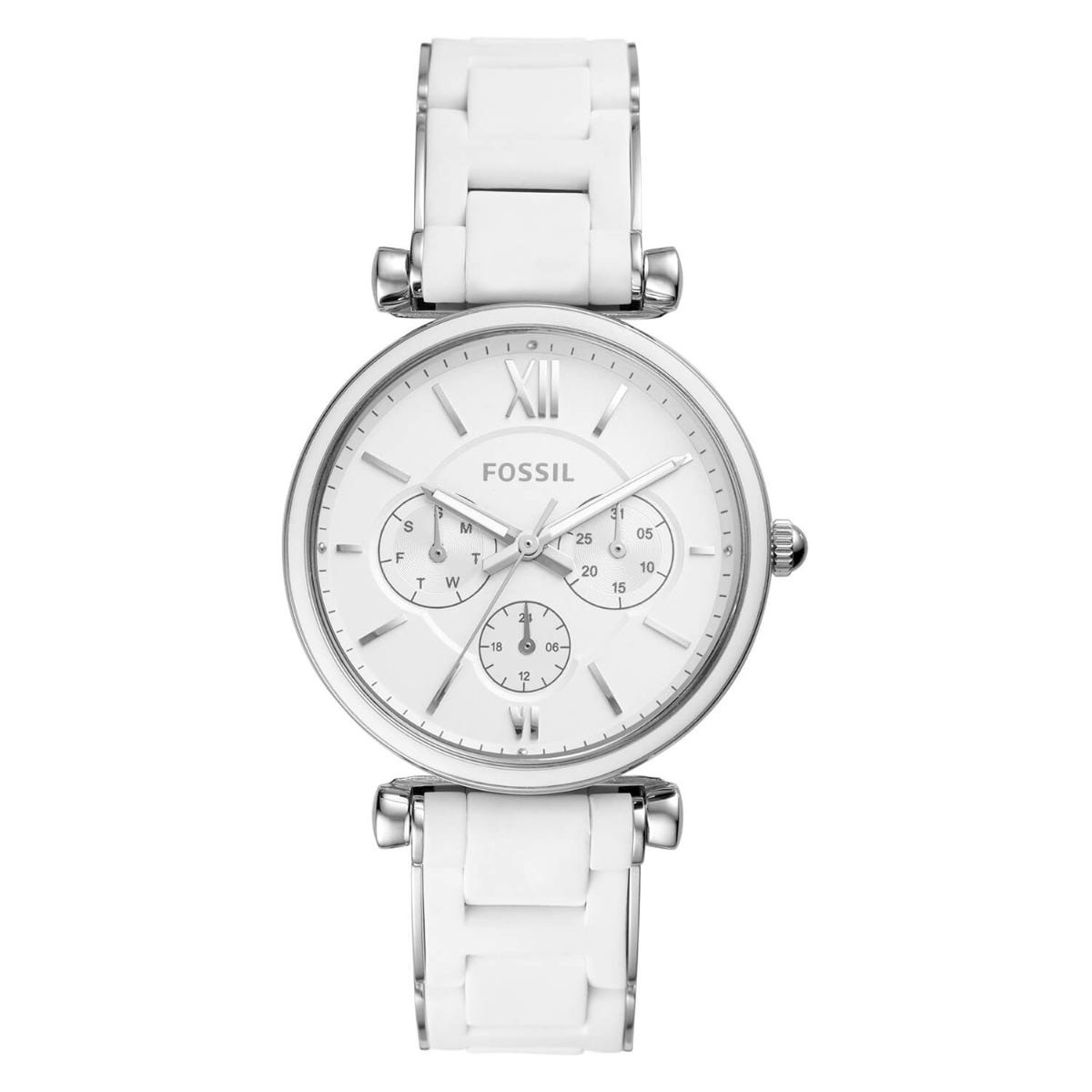 Fossil Carlie Silver Dial Steel Case White Strap Watch