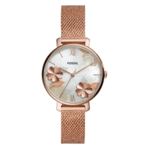 Fossil Jacqueline Mother Of Pearl 3D Flower Dial Rose Gold Plated Mesh Bracelet Watch