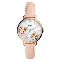 Fossil Jacqueline Mother Of Pearl 3D Flower Dial Rose Gold Plated Case Pink Strap Watch