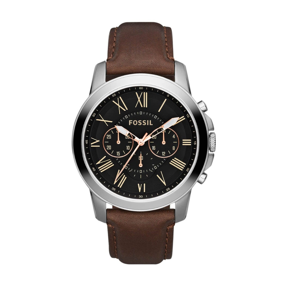 Fossil Grant men's chronograph black dial brown leather strap watch
