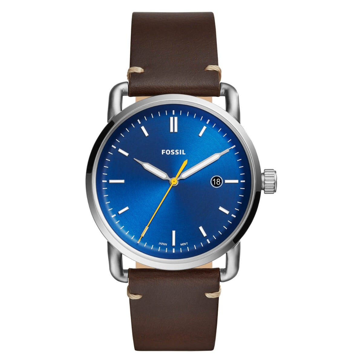 Fossil The Commuter Blue Dial Brown Strap Watch