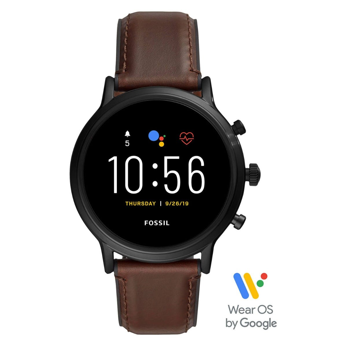 Fossil Gen 5 Carlyle HR Black Dial Brown Leather Strap Mens Smartwatch