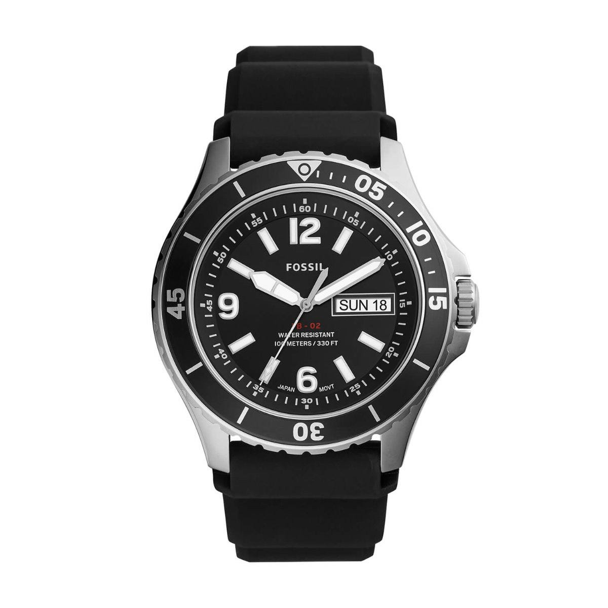 Fossil FB-02 Black Dial Silicone Strap 48mm Mens Watch