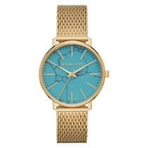 Michael Kors Pyper Gold-tone Mesh And Turquoise Bracelet Watch