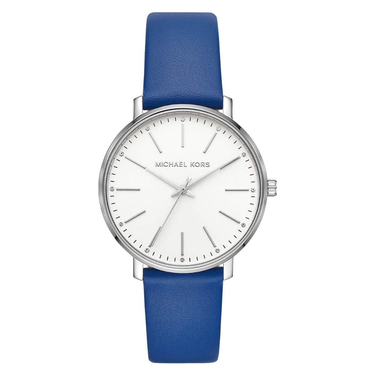 Michael Kors Pyper White Dial Stainless Steel Case Blue Strap Watch