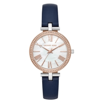 Michael Kors Maci Mother Of Pearl Dial Rose Crystal Bezel Blue Strap Watch