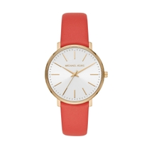 Michael Kors Pyper White Dial Coral Leather Strap 38mm Ladies Watch