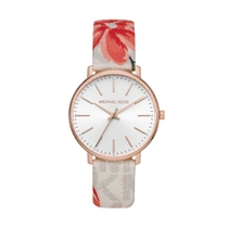 Michael Kors Pyper White Dial Floral Strap 38mm Ladies Watch