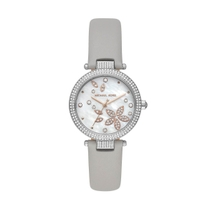 Michael Kors Parker Mother of Pearl Cubic Zirconia Grey Strap 33mm Ladies Watch