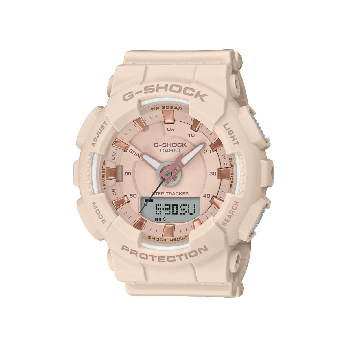 Casio G Shock Beige/Rose Analogue/Digital Dial Beige Strap Watch