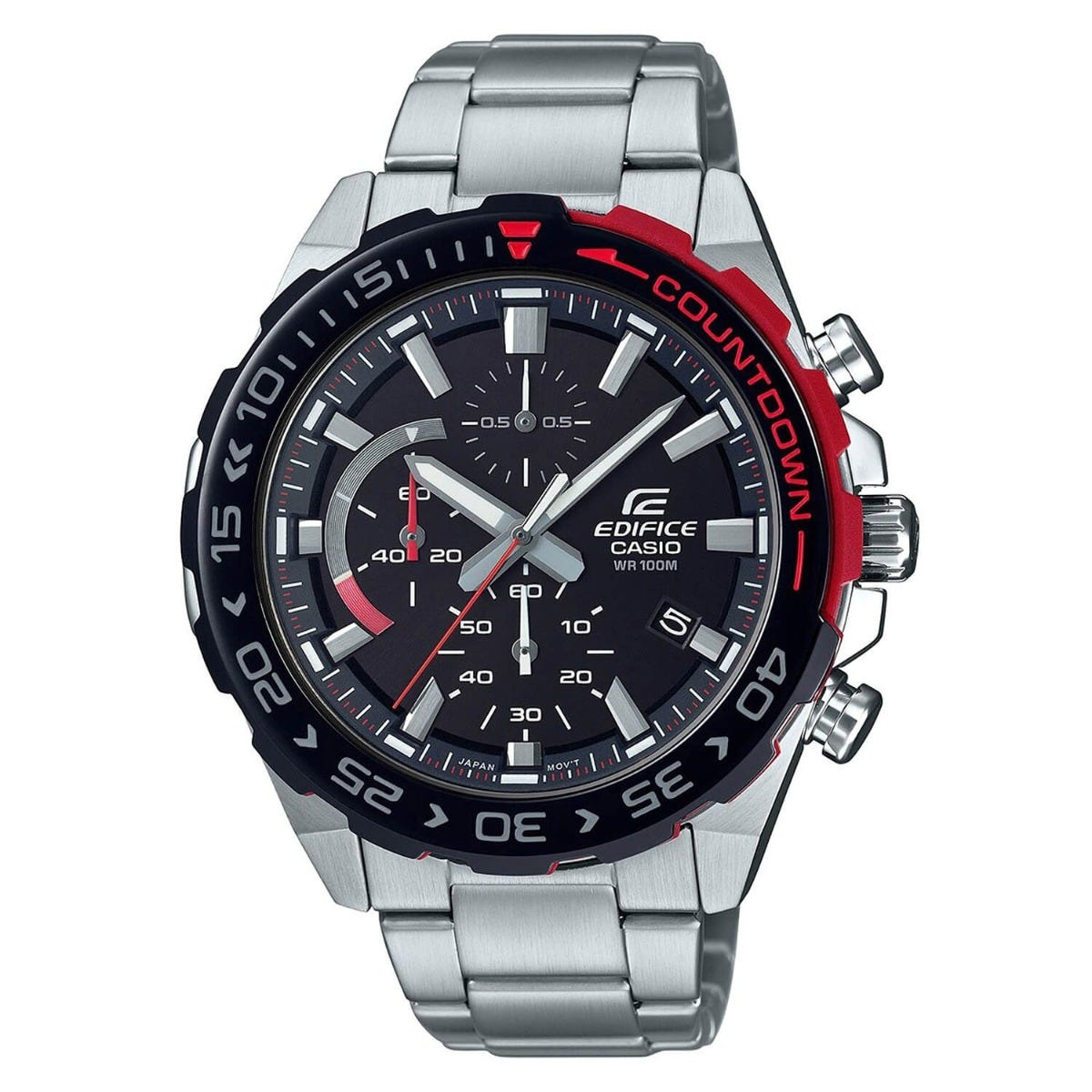Casio Edifice Black Dial Stainless Steel Bracelet Mens Watch
