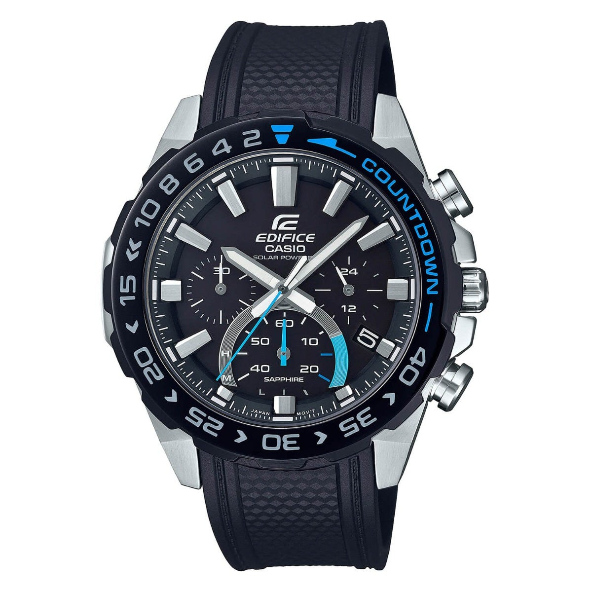 Casio Edifice Black Chronograph Dial Rubber Strap Mens Watch