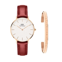 Daniel Wellington Ladies Red Suffolk 32mm Watch & Bracelet Gift Set