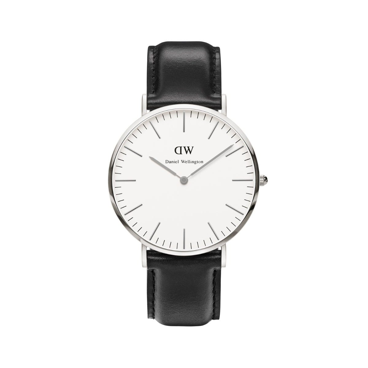 Daniel Wellington Classic Sheffield men's stainless steel and black leather strap watch