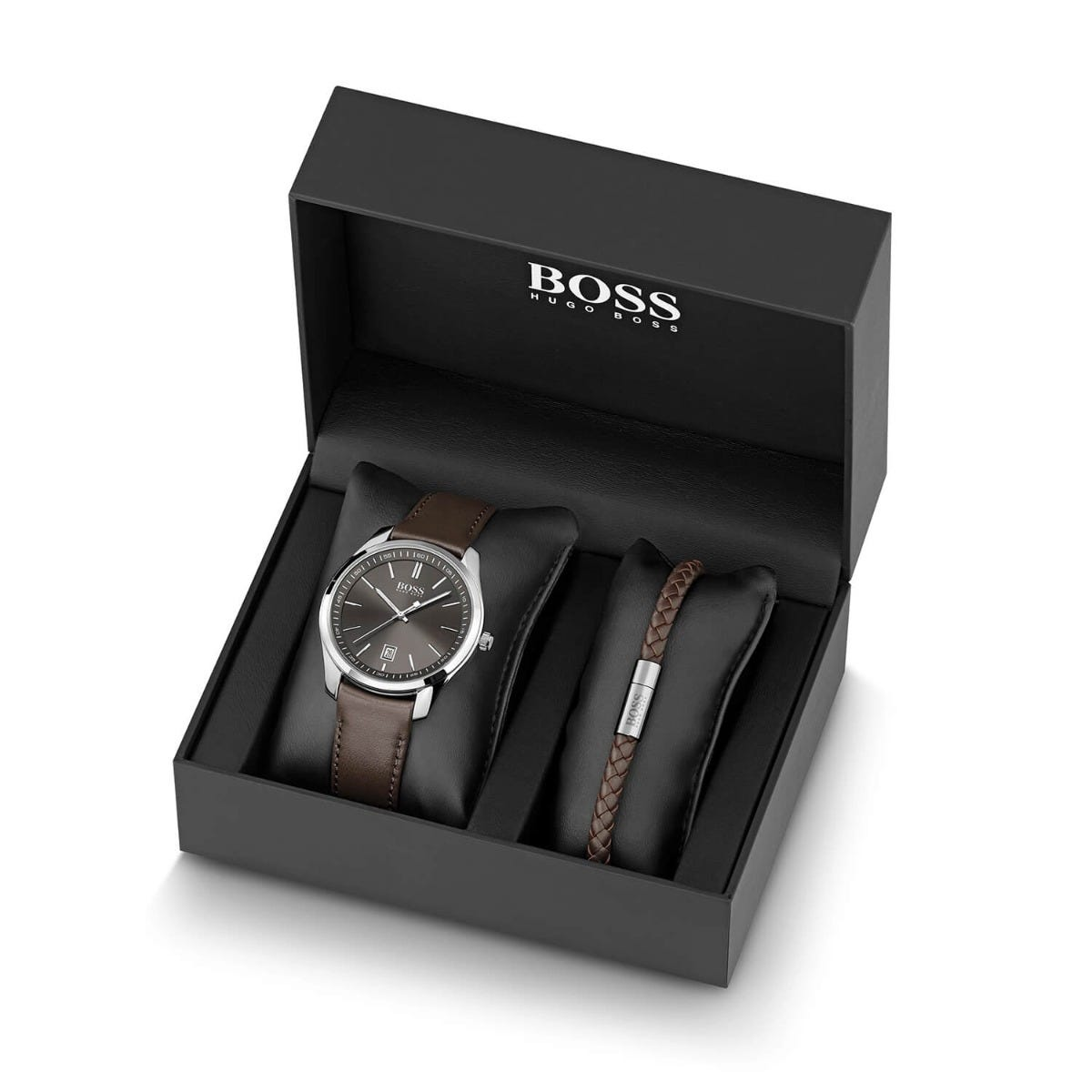 Hugo Boss Grey Dial Brown Leather Bracelet Box Set - Fields Exclusive