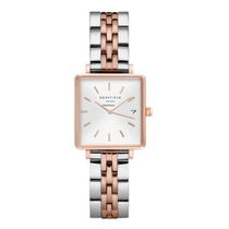 Rosefield The Mini Boxy White Dial Rose Two Tone Ladies Watch