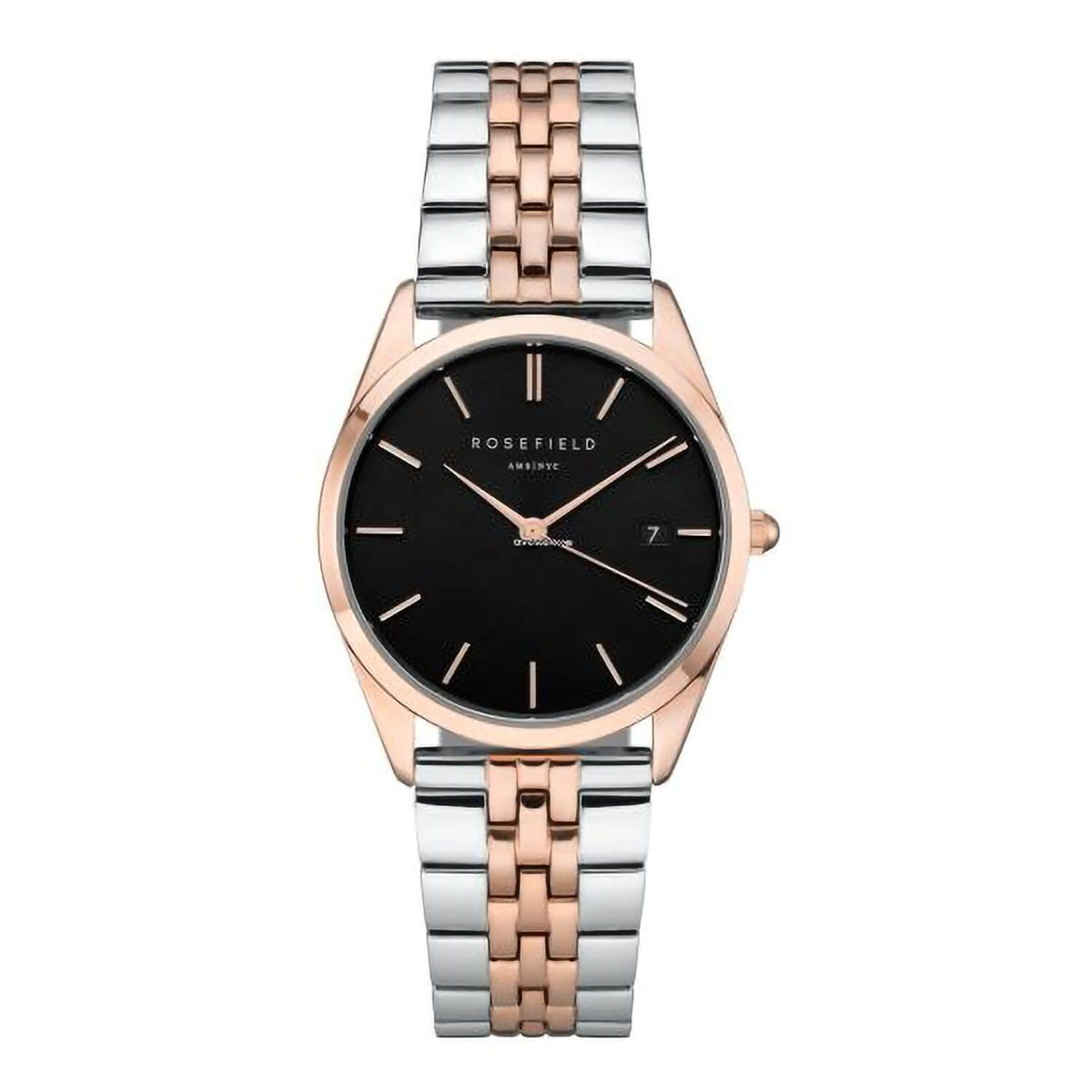Rosefield The Ace Black Dial Two Tone 33mm Ladies Watch