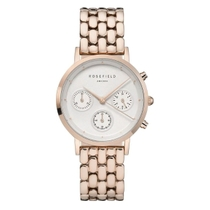 Rosefield The Chrono White Dial Rose Gold Plated 33mm Ladies Watch