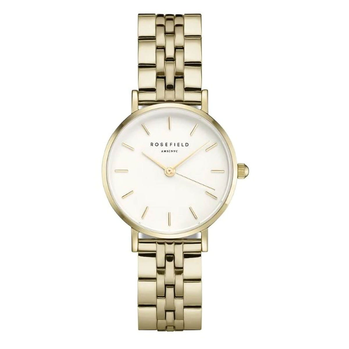 Rosefield The Small White Dial Gold Plated 26mm Ladies Watch