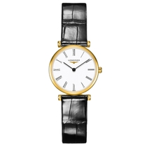 La Grande Classique de Longines ladies' black leather strap watch