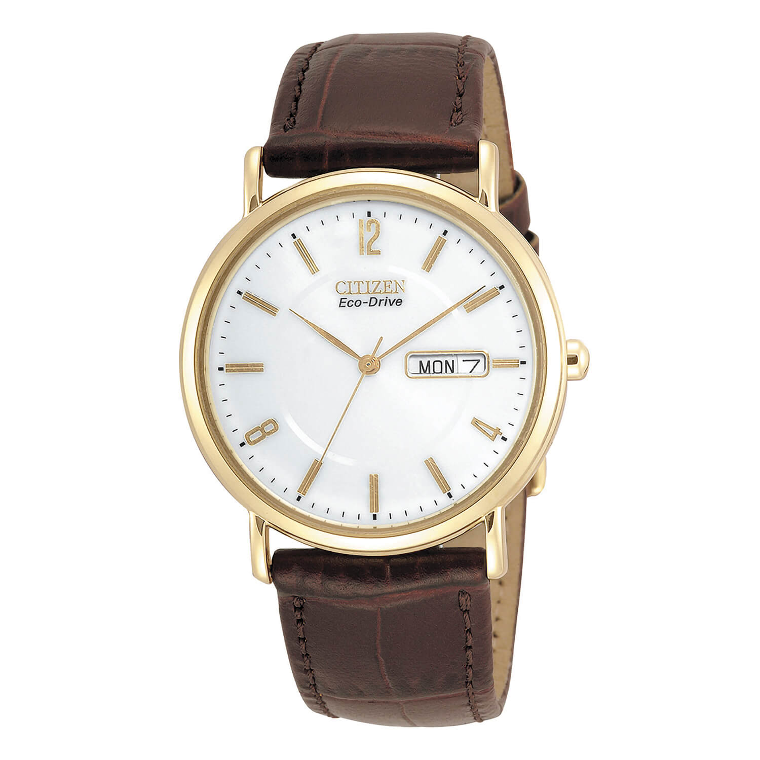 Citizen Eco-Drive Round White Dial with Brown Strap