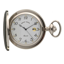 Mount Royal White Dial Chrome-Plated Pocket Watch