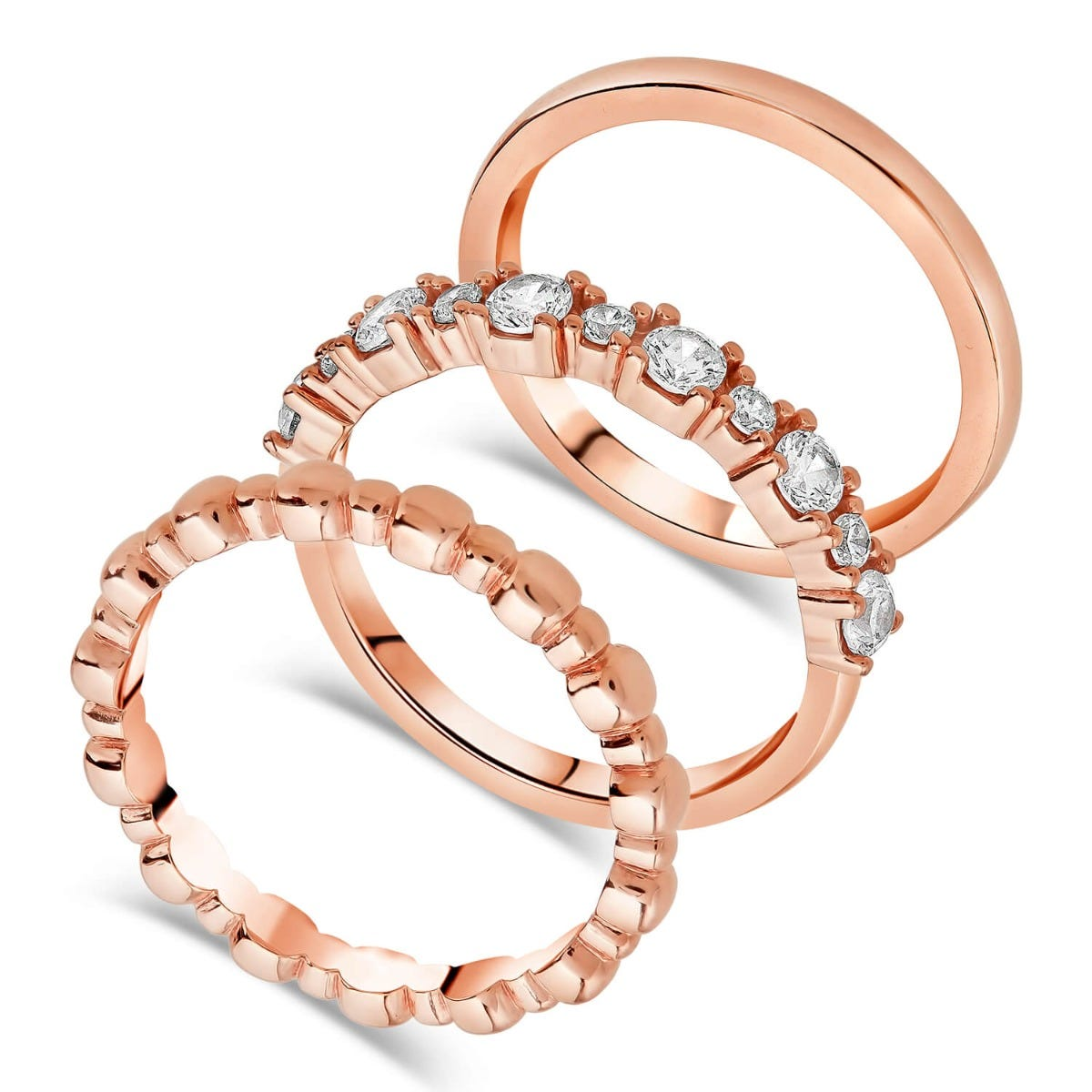 Bronzallure 18ct Rose Gold-Plated Set of Stackable Rings