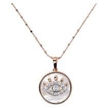 Bronzallure Preziosa Collection All-Seeing Eye Mother Of Pearl Disc Pendant 18' Ladies Necklace