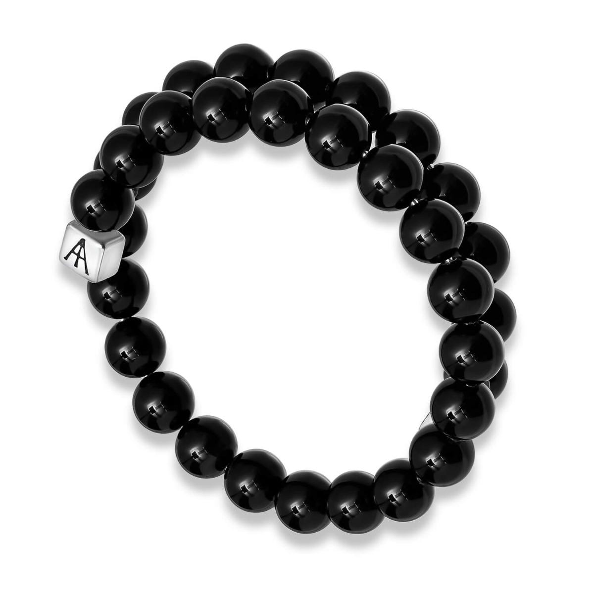 Alex And Ani Beaded Onyx Men's Wrap Bracelet