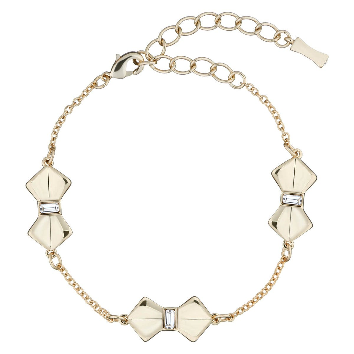 Ted Baker Sorell Gold Plated Crystal Solitaire Bow Bracelet