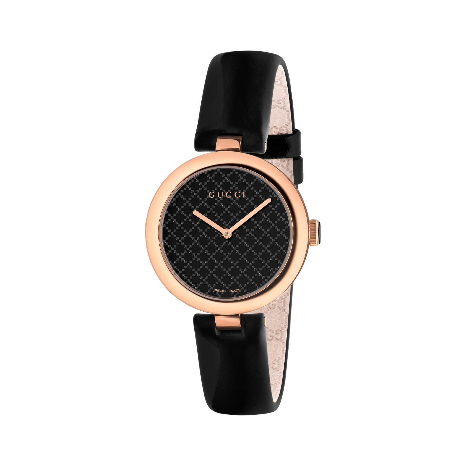 Gucci Diamantissima Ladies' Rose Gold-tone and Black Leather Strap Watch