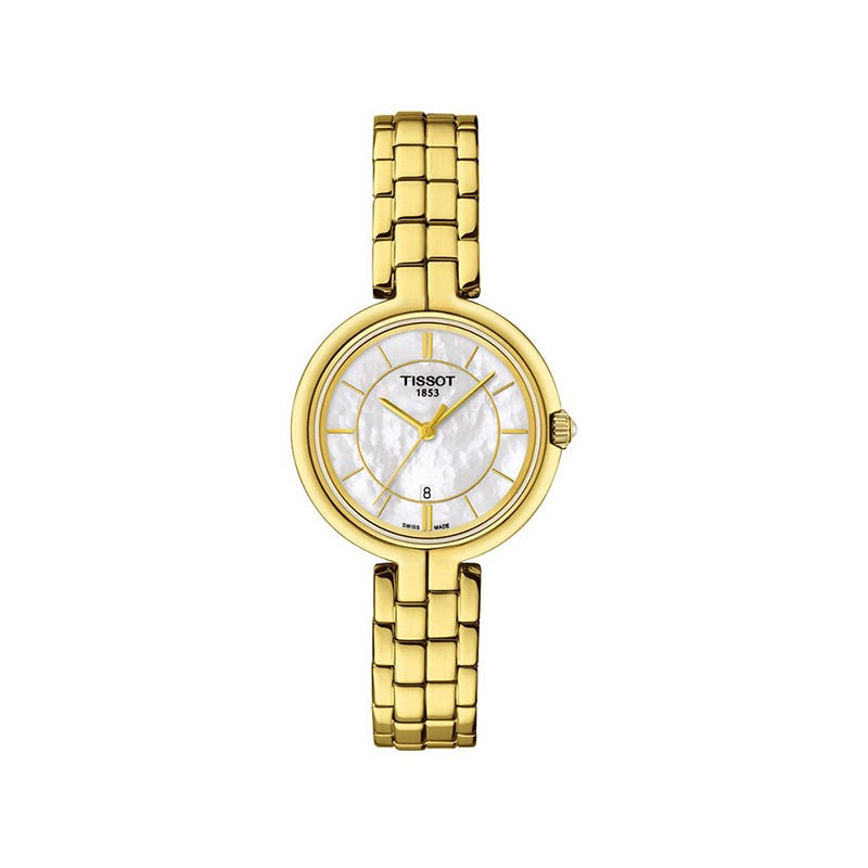 Tissot Flamingo ladies' mother of pearl gold-tone bracelet watch