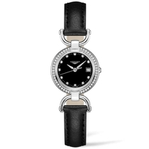 Longines Equestrian Stirrup Ladies' Diamond-Set Black Leather Strap Watch