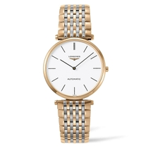 Longines La Grande Classique automatic men's rose gold-tone and stainless steel bracelet watch