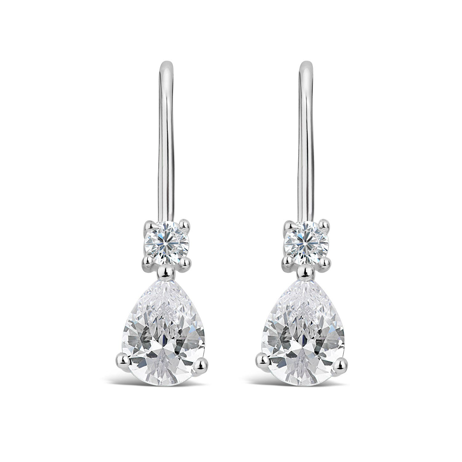 Silver Pear Cubic Zirconia Drop Earrings