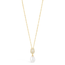 9ct Gold Freshwater Cultured Pearl and Cubic Zirconia Drop Pendant