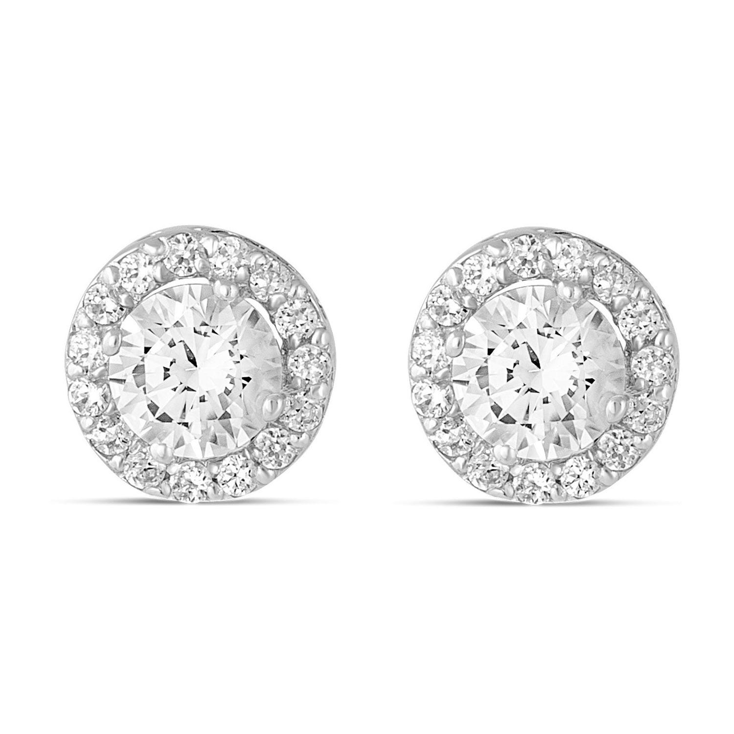 9ct white gold cubic zirconia halo stud earrings
