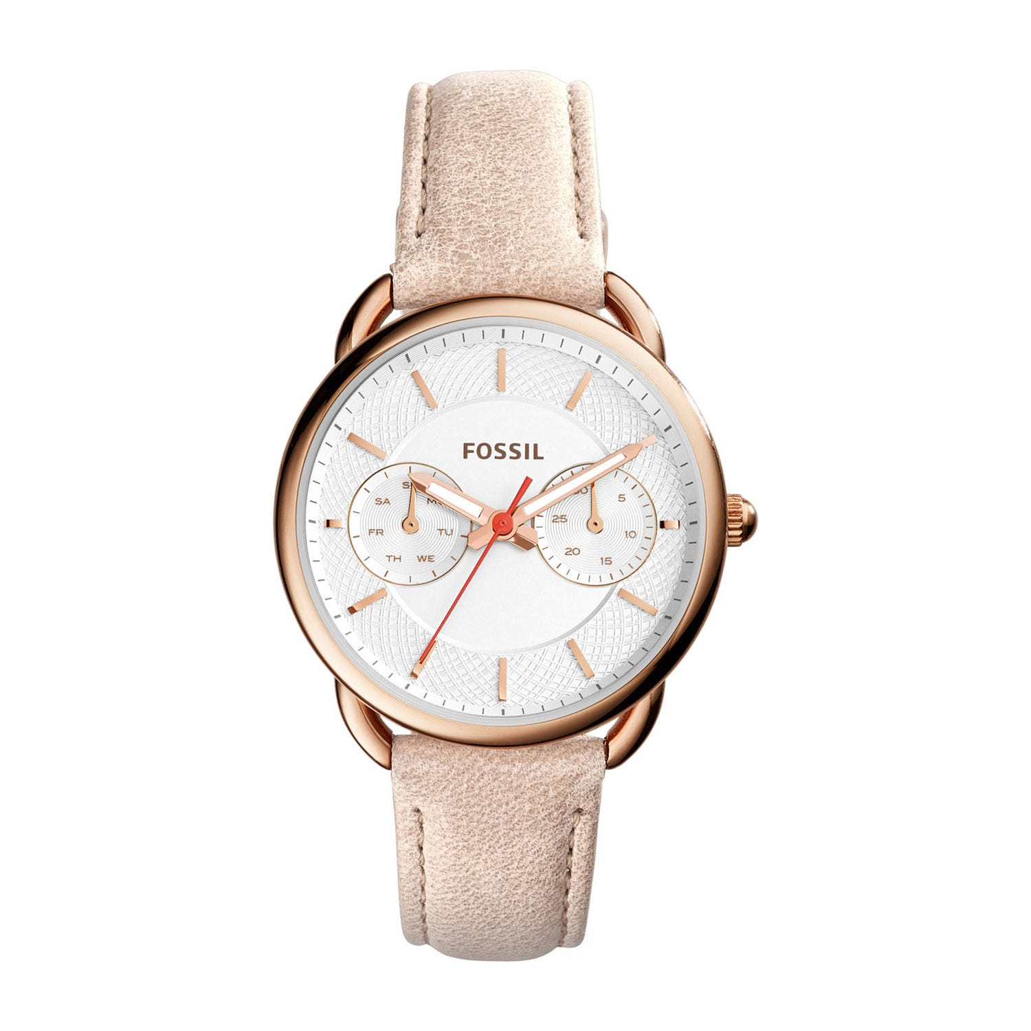 Fossil Tailor ladies' light brown leather strap watch