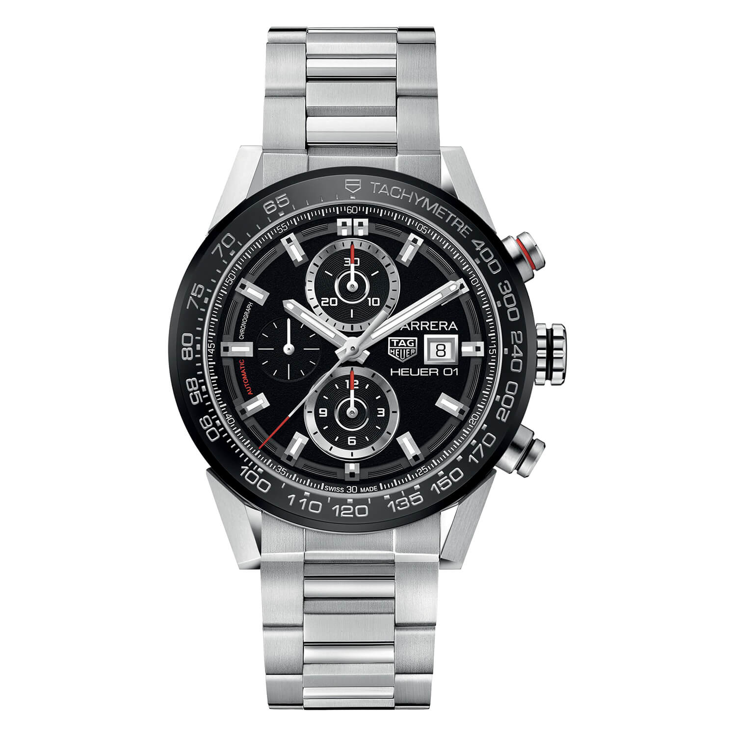 TAG Heuer Carrera Chronograph Black Dial Steel Bracelet Men's Watch