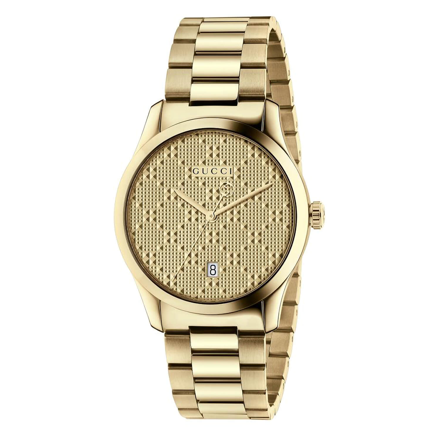 Distinctive Gucci G-Timeless 38mm diamanté gold-tone contemporary watch