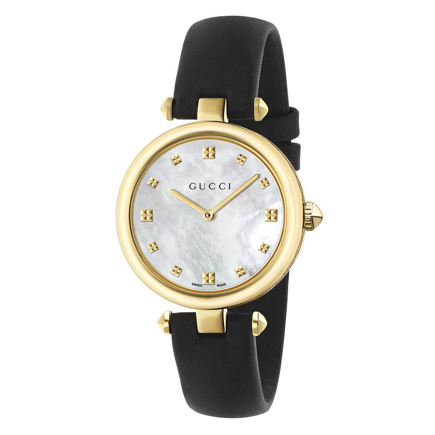 Gucci Diamantissima Ladies' Gold-Tone and PVD Black Leather Strap Watch