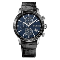 Hugo Boss Rafale Men's Chronograph Black Leather Strap Watch