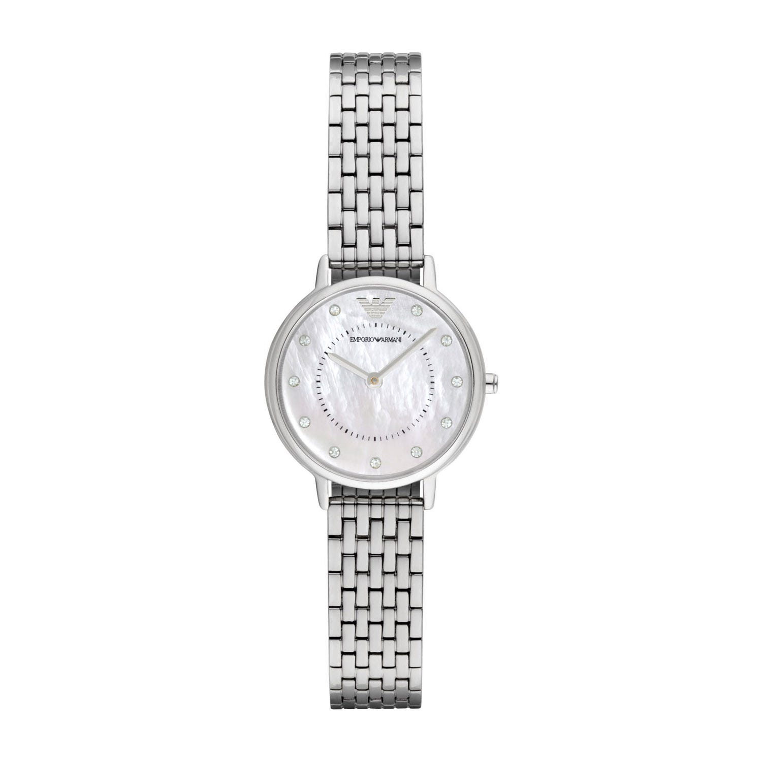 Emporio Armani Ladies' White Cubic Zirconia Steel Bracelet Watch