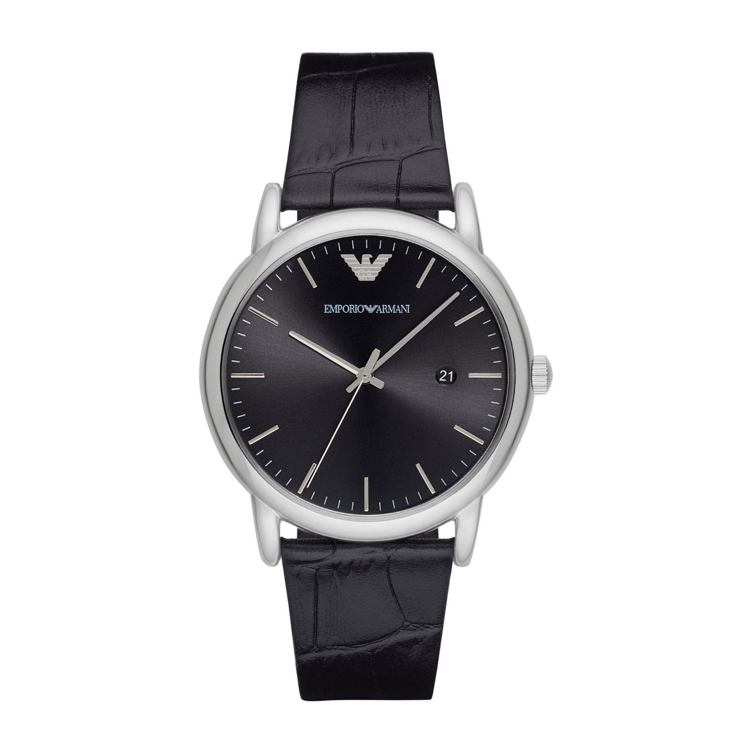 Emporio Armani Men's Black Dial and Black Leather Strap Watch