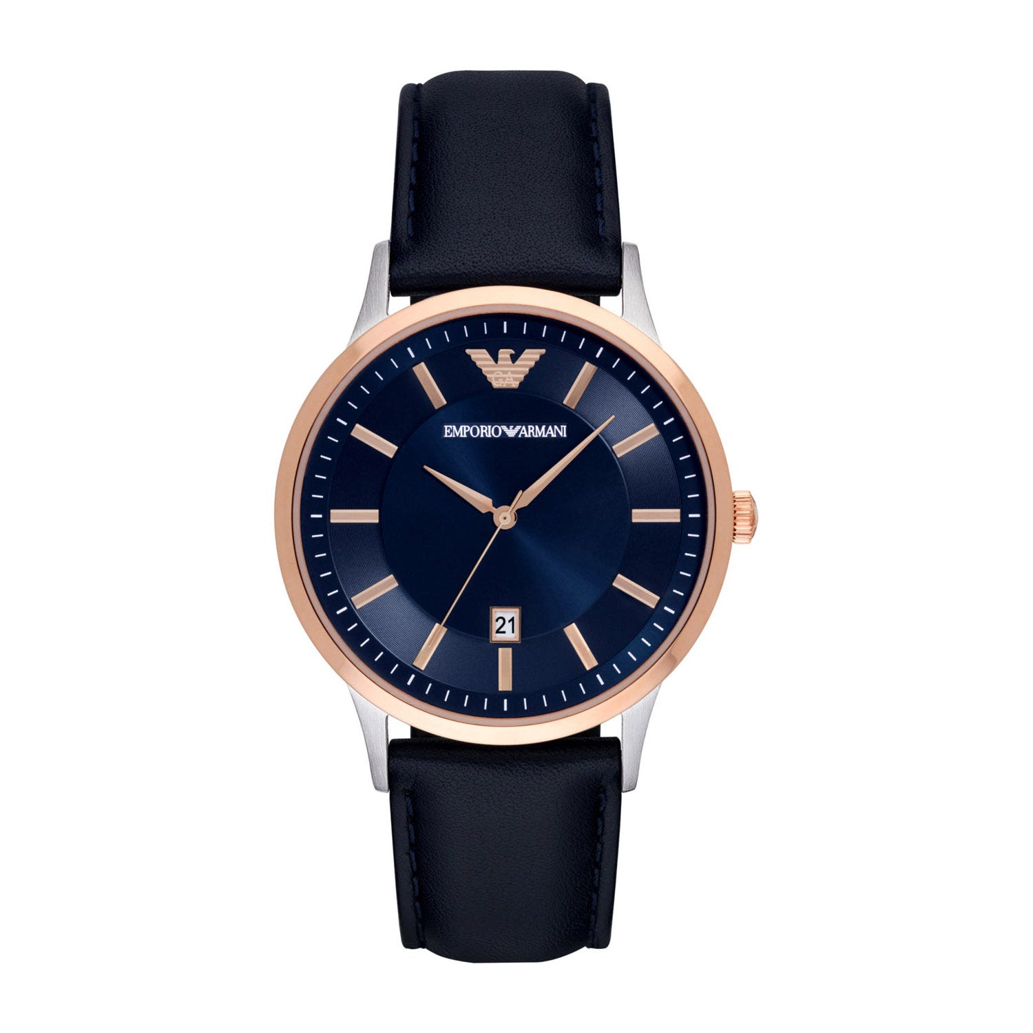 Emporio Armani Renato Men's Blue Dial and Blue Leather Strap Watch