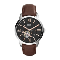 Fossil Townsman Men's Automatic Black Dial and Brown Leather Strap Watch
