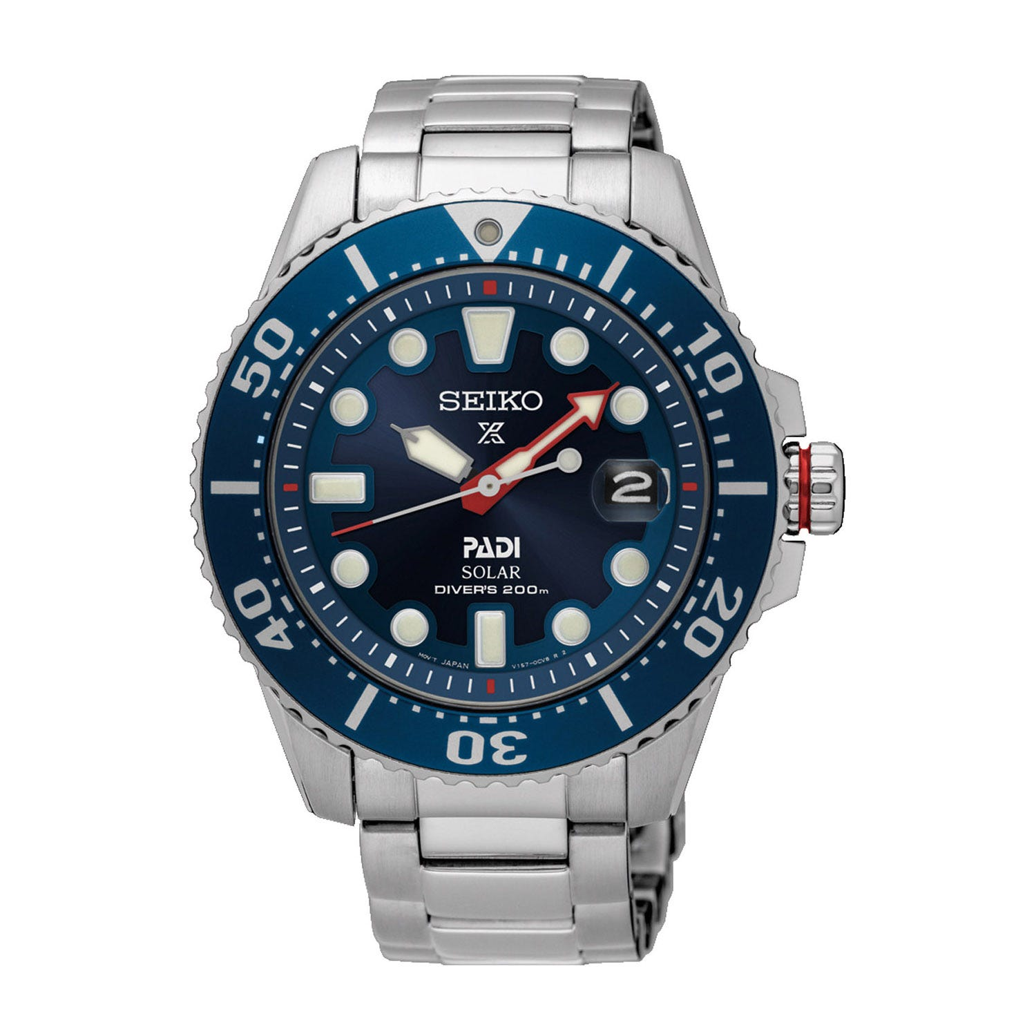 Seiko Solar Prospex Diver's PADI Blue Dial Steel Men's Watch