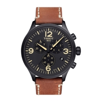 Tissot T-Sport Chrono XL Black Dial and Leather Strap Men's Watch